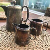3 Pc Vintage EPNS Tea Coffee Sugar Milk Set Tarnished Hard Soldered Sheffield UK