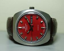 RED DIAL VINTAGE FAVRE LEUBA DUOMATIC AUTO DAY DATE MENS G237 WATCH OLD USED