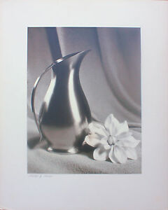 """Mid Century Real Photograph On Matte Board """"Pitcher & Flower"""" By Sam Vickerman"""