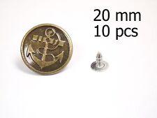 10 pcs 20mm No-Sew Hammer on Jean/Denim Buttons Antique