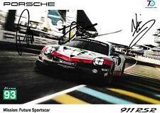 SIGNED Porsche 911 Le Mans 2018 Promo Card Tandy, Pilet, Bamber Number 93 GTE