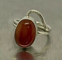 925 Sterling Silver Oval Orange Chalcedony Ring Size 6.5 Adjustable