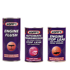 WYNNS 3 Pack ENGINE + AUTO GEAR BOX & POWER STEERING STOP LEAK + FLUSH ADDITIVE