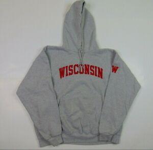 VTG Champion Men 2XL Gray Hoodie Sweatshirt Wisconsin Badgers Sewn Big Logo