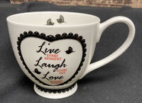Portabello By Inspire Footed Coffee Cup Live Laugh Love Mug Tea Bone China