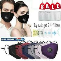 Washable Face Mask Reusable Breathing with Valve Respirator + 2* PM2.5 Filters