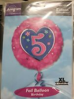 """Anagram Pink Girl HAPPY 5th BIRTHDAY 5 Today Round Foil Helium Balloon 18"""""""
