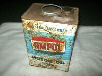 Vintage 50's Light Blue 1 Imperial Gallon Ampol Logo Cap 20/20W Motor Oil Tin