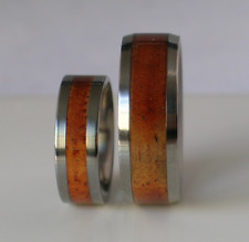 Exotic Koa Wood Wedding Bands Pure Tungsten & Titanium His Hers Rings Sizes 4-17
