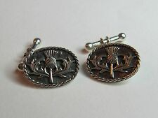 SCOTTISH THISTLE  STERLING SILVER  CUFF LINKS  - NEW