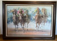 Anthony Veccio Jockeys Horse Racing LARGE Original Signed Oil Painting Canvas