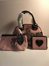 Juicy Couture Yhru0801 Pink Velour & Leather Satchel with Wallet And Makeup Bag
