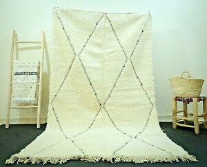 Rug Beni Moroccan Ourain Handmade Berber Wool Carpet White Authentic Morocco Rug