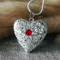 Ruby Crystal Silver Heart Love Picture Locket Charm Pendant Necklace