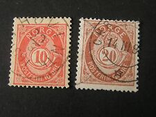 Norway, Scott # 40+43(2), 10o+20o. Values 1884-86 Post Horn & Crown Issue Used