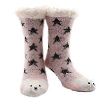 Slipper Socks 3D Novelty Cute Animal Knitted Extra Warm Wool Slippers Lilac Bear