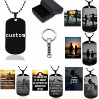 Personalized Engraved Dog Tags Stainless Steel Dog Tag Pendant Necklace Keychain