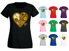 Womens Steam Punk Mechanical Clockwork Heart T-shirt NEW UK 6-18