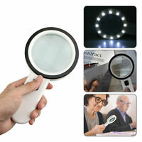 12 LED Light 30X Handheld Magnifier Reading Magnifying Glass Lens Jewelry Loupe