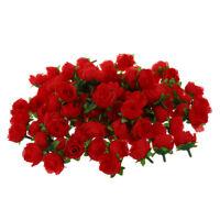 100 x Kuenstliche Bluetenkopf Rosen Dekoration Rosenrot DIY Hochzeitsfeier I2N6