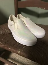 Vans Slip On Pearl Suede Iridescent Swirl White Skater Shoes Womens 7.5