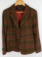 Gant Women Wool Blazer Jacket Casual Formal Check Brown size 44 XL UK16