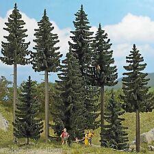 BUSCH 6391 H0, Fichten-Wald, 8 Fichten 70 - 195 mm und Zubehör, Neu