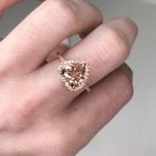 Delicated 2.50Ct Heart-Cut Morganite Halo Engagement Ring 18K Rose Gold Finish