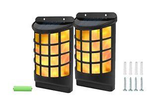 2PK SOLAR FLAME LED LIGHTS WALL FENCE DOOR SHED GARDEN FLICKERING DANCING FLAMES
