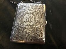 Stunning Antique Carved Sterling Silver Vesta Handled Coin Case/Purse Dated 1915