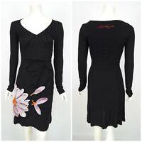 Womens Desigual Dress A-Line Bodycon Black Long Sleeve Floral V-Neck Size XS