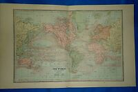 Vintage 1884 MAP of the WORLD on MERCATOR,S PROJECTION ~ Old Antique Original
