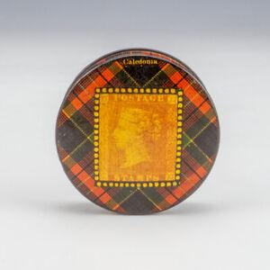 Antique Scottish Mauchline Ware Tartanware - Caledonia Tartan - Stamp Box