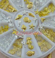 3D Gold Silver Hippocampus Shell Conch Starfish Alloy Nail Art Decoration Gems
