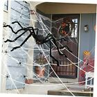 Spider Webs Halloween Decorations Pack, 257sqft Spider Web and Giant Black