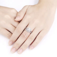 Silver Wedding Engagement Ring Set Size 6 New listing Princess Cut White Aaa Cz 925 Sterling