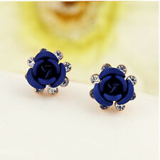 Nice Exquisite Rigant Crystal Accented Rose Stud Earrings Charming Jewelry Blue