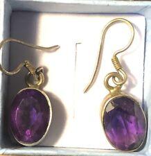 Sterling Silver Oval Amethyst Or Purple Colored Glass Earrings (pierced)