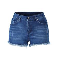 Mujer Mediados de subida Hot Pants Cremallera Rasgada Elástico Mini Pantalones Cortos Azul Denim Talla S ~ XXL