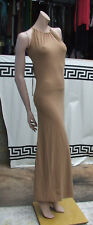 Designer Tara Jarmon Sensational Camel Slinky Jersey Long Dress UK 8 Exquisite!