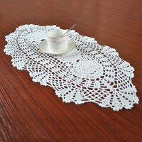 White Vintage Oval Table Runner Crocheted Cotton Floral Lace Tablecloth Doily