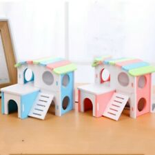 Small Pet Guinea Pig Hamster House Wooden Cabin Climb Play House Cage Toy