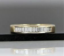 $1950 14K Yellow Gold 0.35ct Straight Baguette Diamond Channel Wedding Band Ring