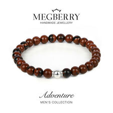 MEGBERRY Mens Beaded Bracelet - 925 Solid Sterling Silver & Obsidian Custom size