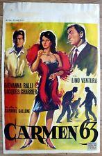 belgian poster CARMEN 63, LINO VENTURA, GIOVANNA RALLI, JACQUES CHARRIER
