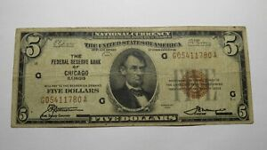 $5 1929 Chicago Illinois IL National Currency Bank Note Bill! Federal Reserve