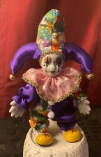 New ListingBendable Mardi Gras Harlequin Jester Clown Doll - Porcelain Hand Painted 8� Tall