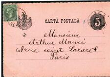 ROMANIA Uprated Postal Stationery Card *Braila* France Paris 1880s? FC35
