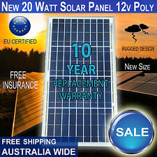 New 20 Watt 12v Polycrystalline Solar Panel 20W - BRAND NEW SIZE