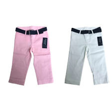 Kids Girls Pink White Smart Stretch Spotted Belt Chinos 2-16 Y